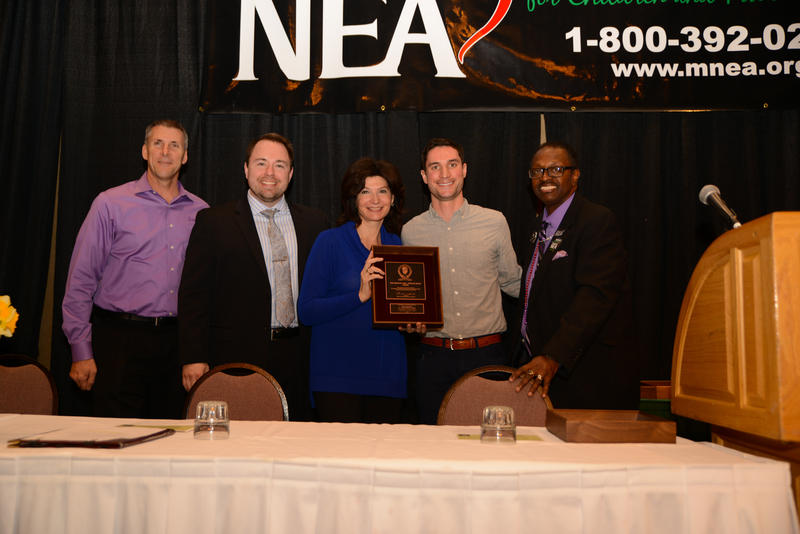 At the MNEA award's ceremony (l to r): Mike Roman, Horace Mann Insurance agent; Robert Curtis, Horace Mann Insurance assistant regional vice president; Lily Eskelsen Garcia, NEA president; Ryan Delaney; Charles E. Smith, Missouri NEA president