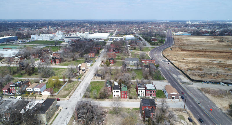 Developer Paul McKee owns much of the land in this picture, looking north from the intersection of Cass and Jefferson avenues. After nearly 10 years, the city of St. Louis wants to cut ties with McKee and his NorthSide Regeneration initiative.