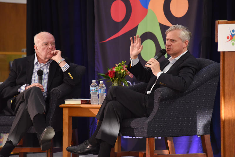 "Host Don Marsh (left) and author Jon Meacham talked about Meacham's latest book, ""Soul of America"" at the St. Louis Public Library on May 25."