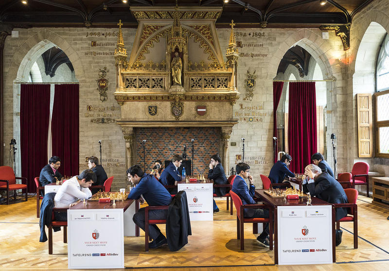 A scene from the 2017 Your Next Move event in Leuven, Belgium, the location of the first stop of the 2018 Grand Chess Tour.