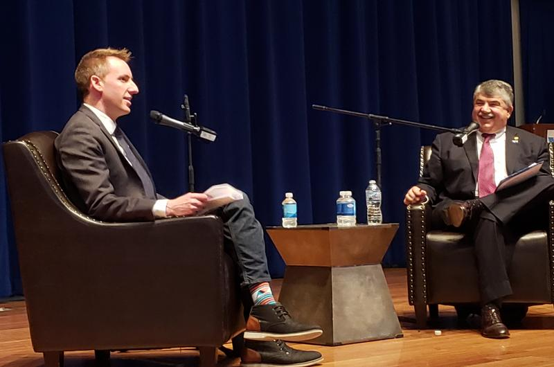 Former Secretary of State Jason Kander, left, hosts podcast with national AFL-CIO president Richard Trumka on June 23, 2018.