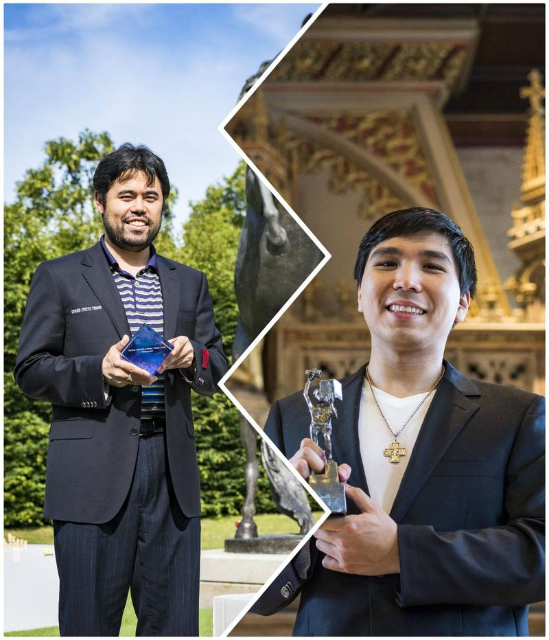 Hikaru Nakamura (left) won the Paris GCT in late June and Wesley So, who won Your Next Move in Leuven, Belgium in 2018.