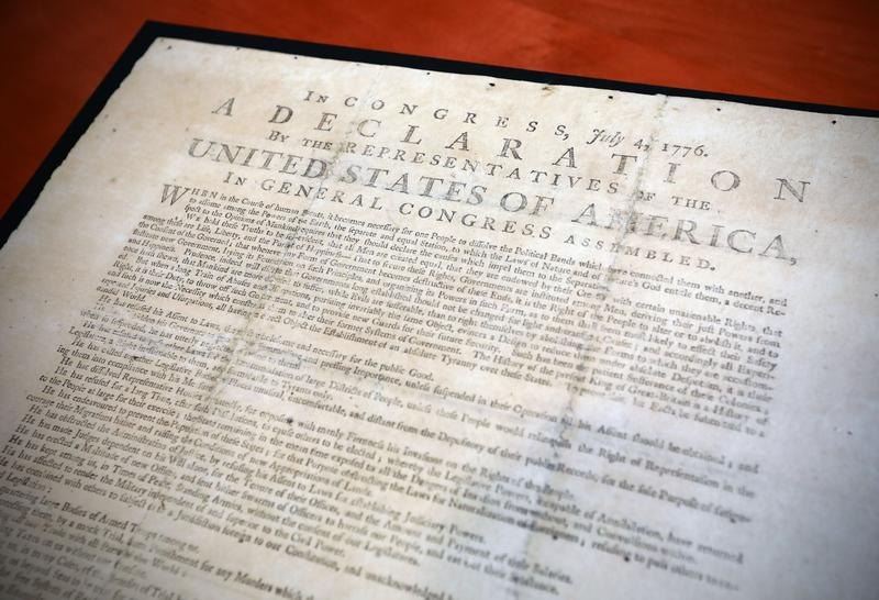 A rare copy of the Declaration of Independence is currently on view at the John M. Olin Library on the Danforth Campus.