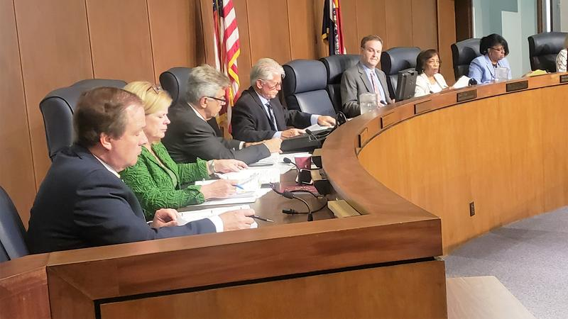 The St. Louis Council at its meeting on June 26, 2018. The empty chair belongs to County Executive Steve Stenger, who has skipped most of the meetings this year.