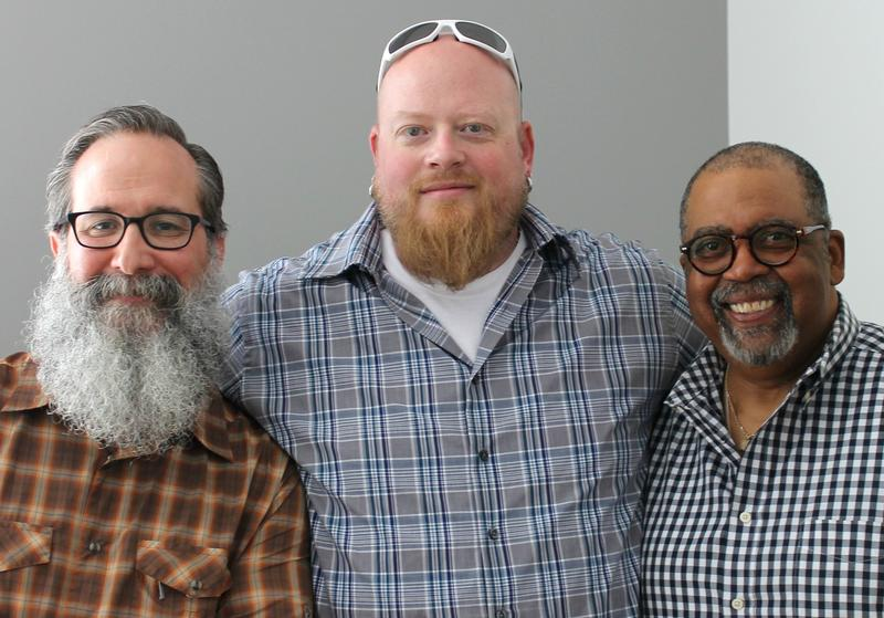 "Left, Matt Sorrell, David Sandusky and Otis Walker ignite a conversation about barbecue with host Don Marsh on Monday's ""St. Louis on the Air."""