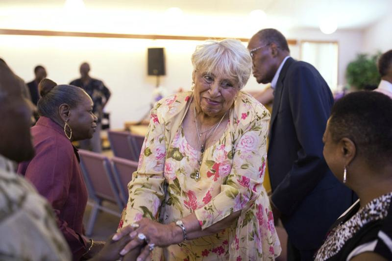 Doris Fiddmont Frazier, center, and other parishioners worship at Union Baptist Church, a fixture in Westland Acres.