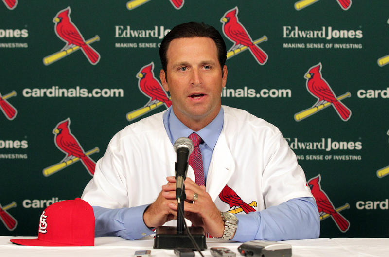 Former St. Louis Cardinals manager Mike Matheny speaks after being introduced as the team's 49th manager on November 14, 2011. The Cardinals fired Matheny on July 14, 2018 after six and a half seasons.