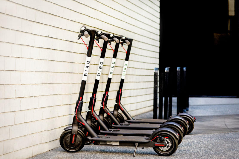 Bird electric scooters.  July 2018