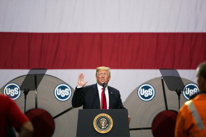 President Donald Trump speaks at a Granite City Works warehouse on July 26, 2018.