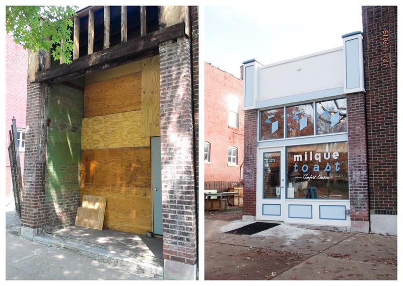 Before and after its facelift: Milque Toast Bar, 2212 S. Jefferson Ave., received a Community Development Block Grant to improve its facade.