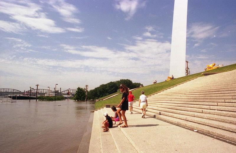 Floodwaters climb up the steps in front of the Gateway Arch during the Great Flood of 1993.