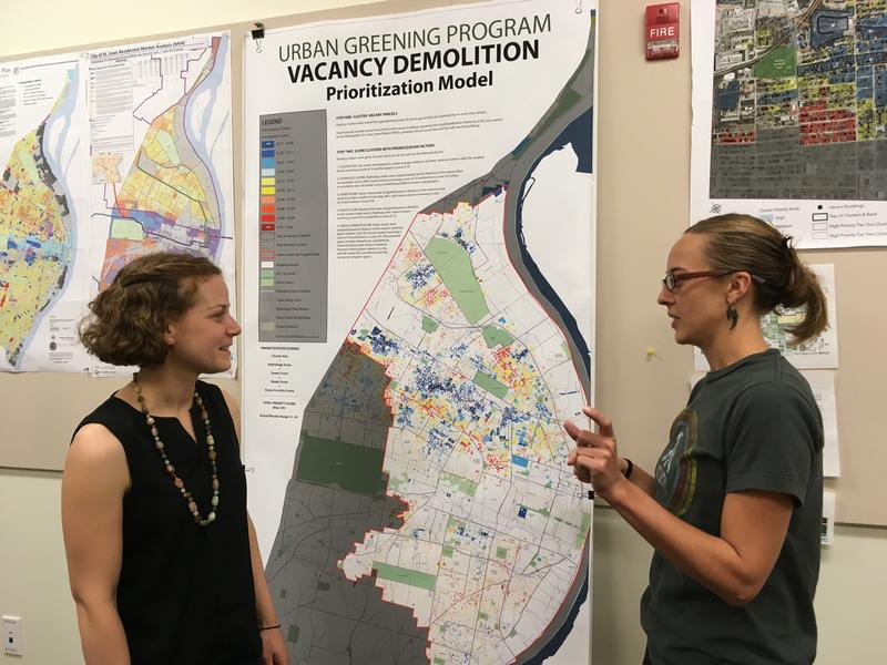 """When we're developing strategies to tackle vacancy, we need good data as a base to guide those decisions,"" says Laura Ginn (right), who has helped develop a data-rich website on vacant property in St. Louis."