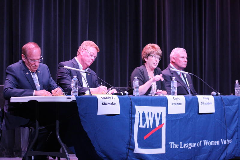 Left to right: GOP Mo. Senate Dist. 18 candidates Lindell Shumake, Craig Redmon, Cindy O'Laughlin and Nate Walker took part in a forum on July 23 in Moberly.