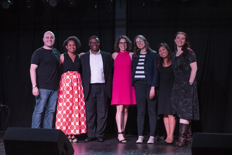 Thursday, June 28, Story Collider storytellers pose with co-hosts (left to right): Co-Host Zack Stovall, Samoa Asigau, Samuel Achilefu, Shula Neuman, Jada Taline Foster, Co-Host Eli Chen, and Sheyna Gifford.