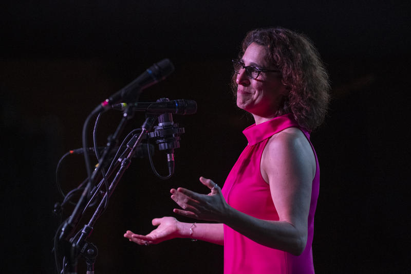 St. Louis Public Radio's Executive Editor Shula Neuman tells her story last Thursday night at Story Collider: Homing Signals at The Ready Room.
