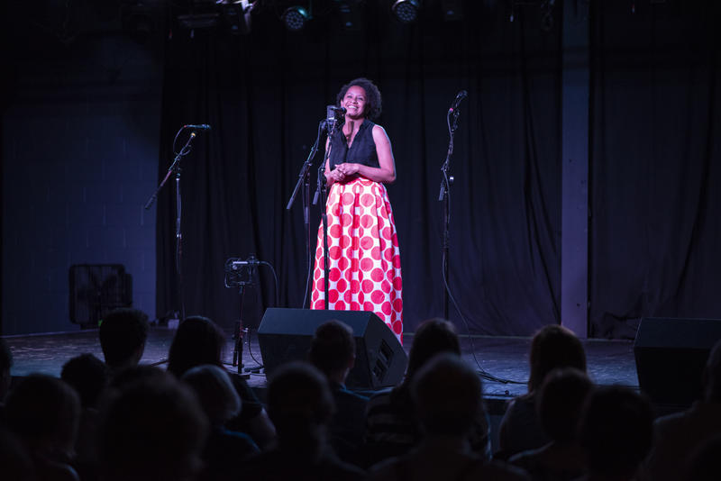 Samoa Asigau shares her story at last Thursday's Story Collider: Homing Signals at The Ready Room.