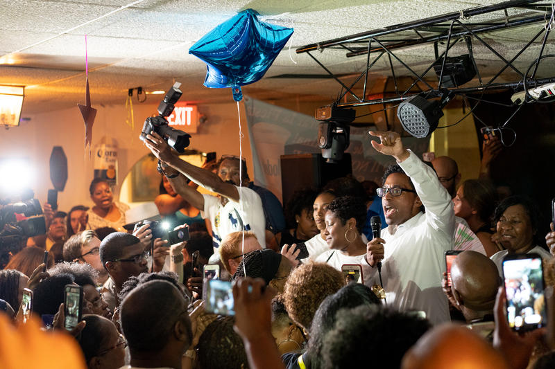 Wesley Bell, who defeated the longtime St. Louis County prosecutor Bob McCulloch, addresses an exuberant crowd at La Mexicana in St. Ann on August 8, 2018.