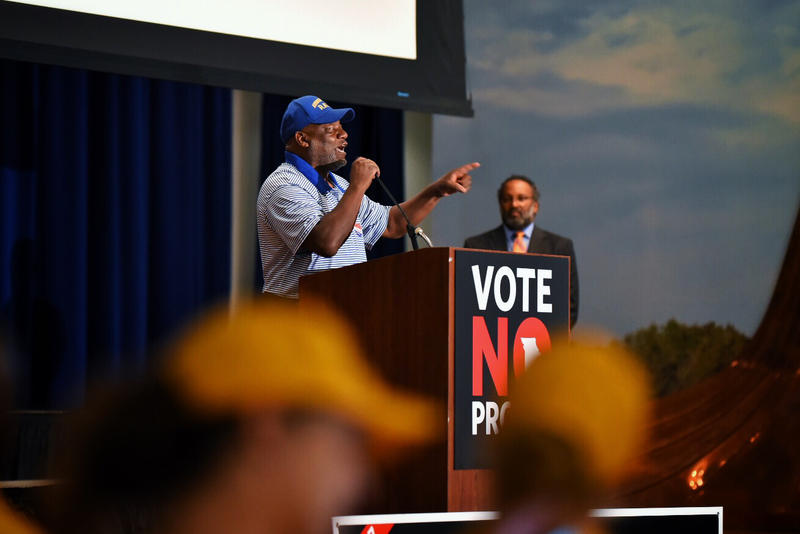 The Rev. Tommie Pierson Sr., co-chair of the St. Louis Workers' Rights Board and pastor at Greater St. Mark Family Church, tells opponents of Proposition A,