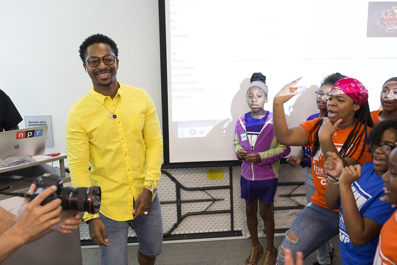 Students perform their song for Hip-Hop Architecture Camp's videographer.