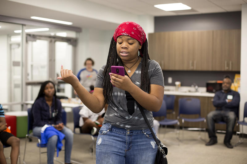 Paris Manning, 13, performs a rap verse she wrote at Hip-Hop Architecture Camp.