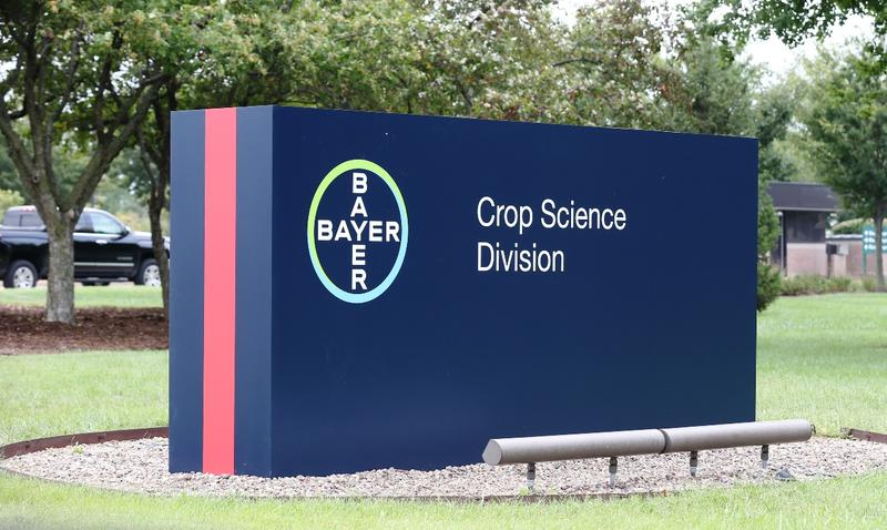 Sign at the main entrance to the old Monsanto headquarters reads Bayer Crop Sciences as of August 21, 2018