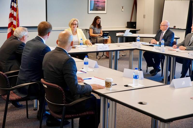 U.S. Sen. Claire McCaskill, D-Mo., speaks to a group of people representing Missouri manufacturing and agircultural interests on Aug. 27, 2018.