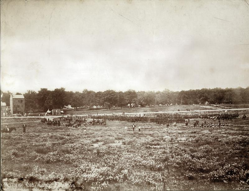 Camp Jackson militia drill in 1861 on field now part of SLU campus