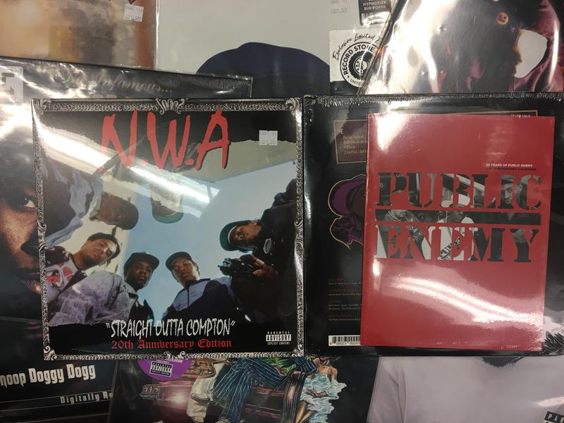 "The albums ""Straight Outta Compton and ""It Takes a Nation of Millions to Hold Us Back,"" are shown with other albums at Vintage Vinyl. The two albums have inspired a wider variety of hip-hop artists for three decades."