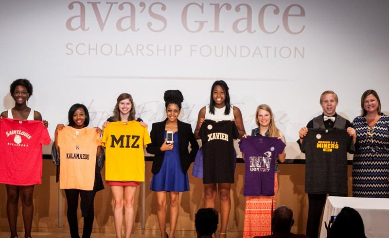 Stephanie Regagnon, far right, poses for a photo in 2014 with some of the Ava's Grace scholarship recipients.