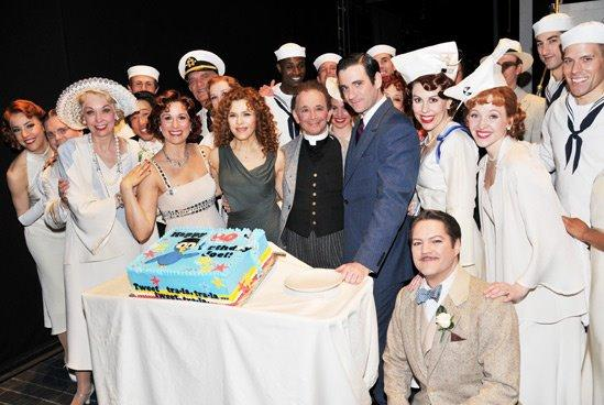 Brandon Bieber (wearing a sailor suit on right) poses in 2014 with actors Joel Gray (center) and Bernadette Peters following a Broadway presentation of