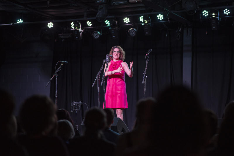 St. Louis Public Radio's executive editor Shula Neuman telling a story at the Story Collider podcast's live taping in St. Louis in June 2018.