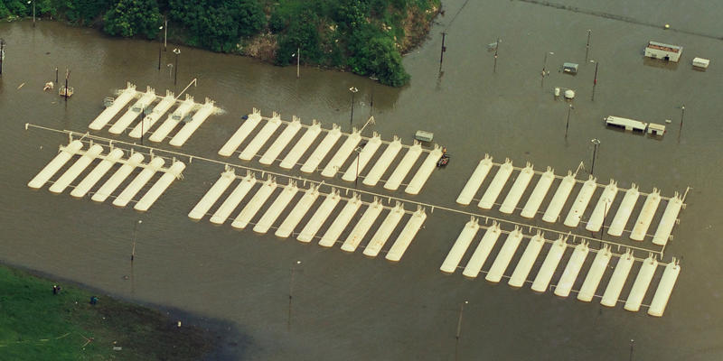 At the height of the Great Flood of '93, 51 propane tanks at the Phillips Petroleum tank farm that had been overtaken by Mississippi River floodwaters began leaking, prompting the St. Louis Fire Department to order mandatory evacuation of south St. Louis.