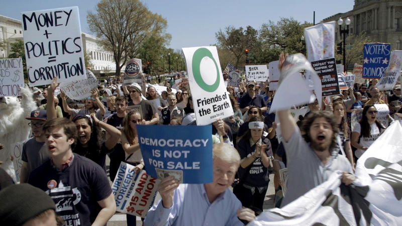 Protestors against dark money make their presence known in Washington.