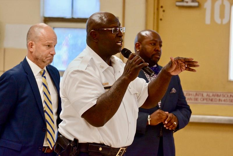 St. Louis Police Chief John Hayden speaks to residents at Clinton-Peabody Public Housing Complex on Friday, Aug. 3.