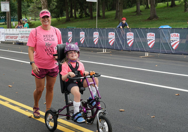 St. Louis resident Megan Vitale and her nine-year-old daughter Sophia, who has cerebral palsy, participated in the Ride to Unite event on September 1, 2018.