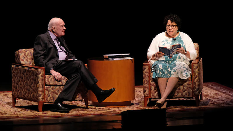 From left, host Don Marsh interviews Sonia Sotomayor at the Touhill Performing Arts Center.