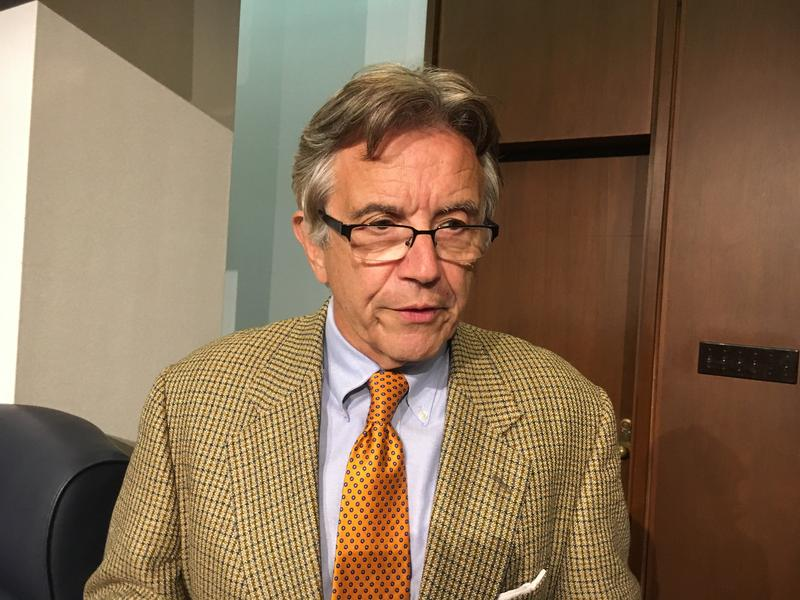 St. Louis County Councilman Ernie Trakas, R-South St. Louis County, speaks to reporters on Sept. 18, 2018.  A judge ruled that Trakas did not violate a charter provision against governmental employment when he did legal work for school districts.