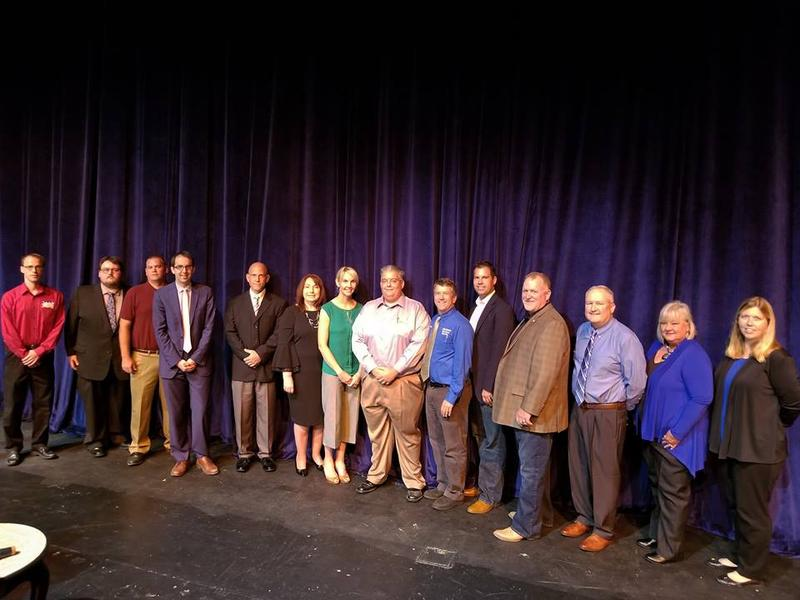 Participants in the East Central College Franklin County Candidate Forum pose for a photo on Thursday, Sept. 21, 2018.