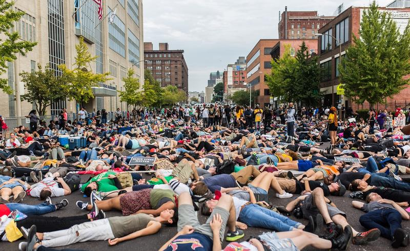 Hundreds of people participate in a die-in at police headquarters in downtown St. Louis during the fall 2017 protests against the Stockley verdict.