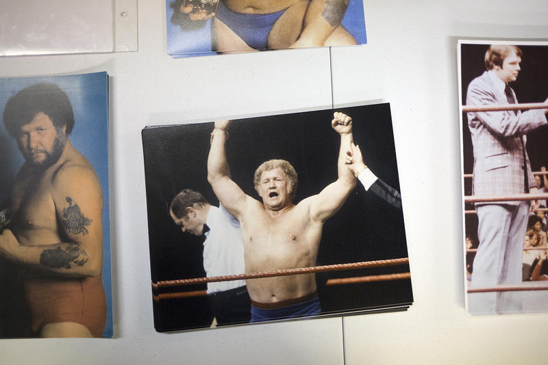 Photos of Harley Race are sold at his wrestling academy in Troy.