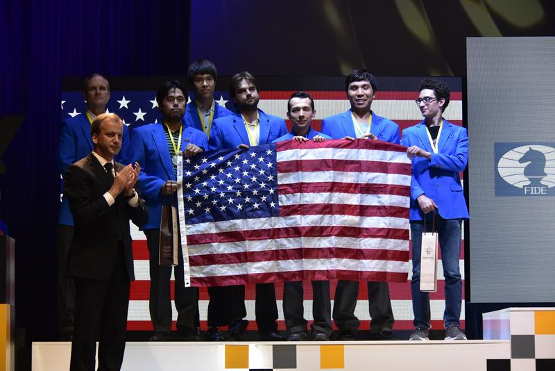 The U.S. men took silver at the 2018 Chess Olympiad in Batumi, Georgia on Oct. 5, 2018.