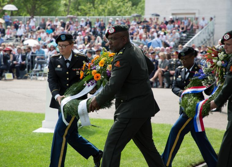 A Dutch historian is in St. Louis this week searching for information about 172 African-American soldiers who are buried or memorialized in the Netherlands American Cemetery, pictured here during a Memorial Day 2017 ceremony.