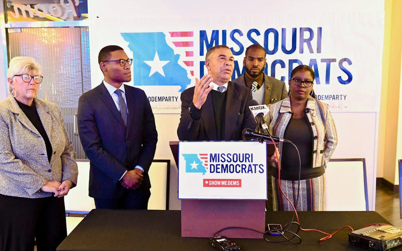 U.S. Rep. Lacy Clay, D-University City, (center) and Missouri Democratic lawmakers gathered in the Delmar Loop on October 15, 2018 to demand that Missouri Attorney General Josh Hawley drop his appeal of a challenge to the state's voter photo ID law.