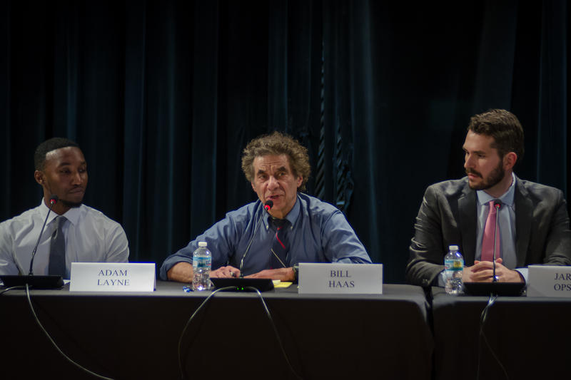 Bill Haas, center, speaks during a candidate forum for the St. Louis Board of Education Oct. 24, 2018. Haas has served 16 years on the board. He's flanked by Adam Layne and Jared Opsal.