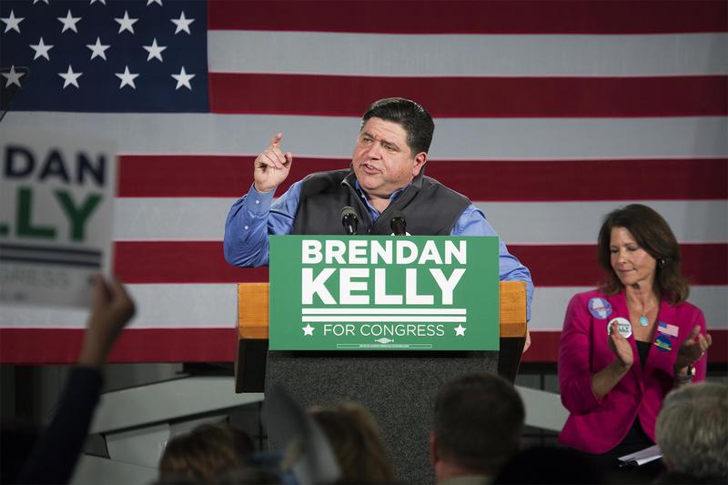 Illinois gubernatorial candidate JB Pritzker speaks in support of congressional candidate Brendan Kelly.