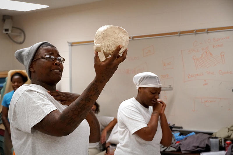 "The St. Louis nonprofit Prison Performing Arts has been putting on plays with incarcerated people for 19 years. Here, two women at the penitentiary in Vandalia, Missouri rehearse a scene from ""Hip Hop Hamlet."" 10/11/18"