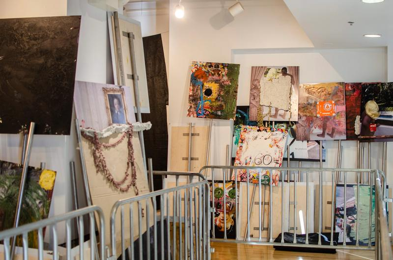 "Oscar Murillo's installation evokes a protest ""in limbo."""