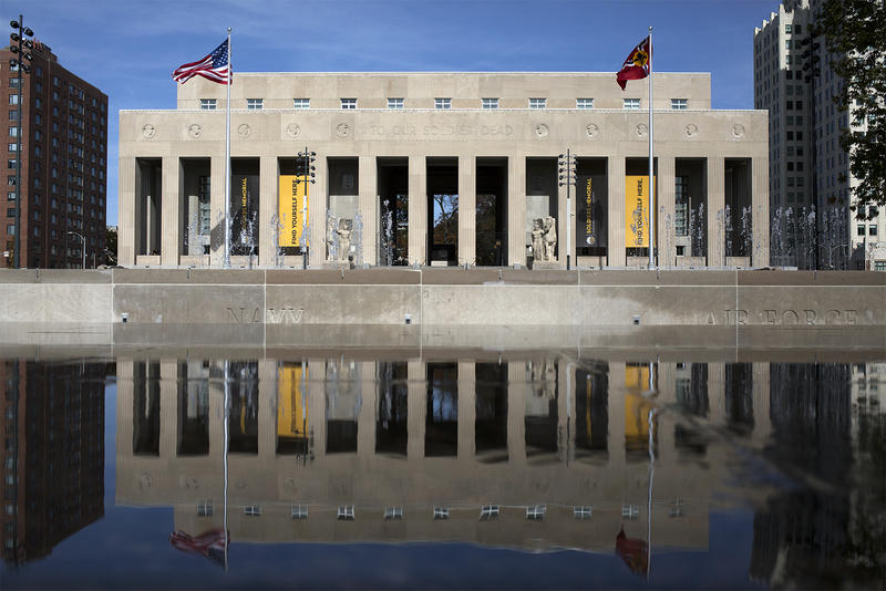 The Court of Honor across from the Soldiers Memorial Military Museum now features a fountain and reflecting pool to honor area service members who died in World War II.