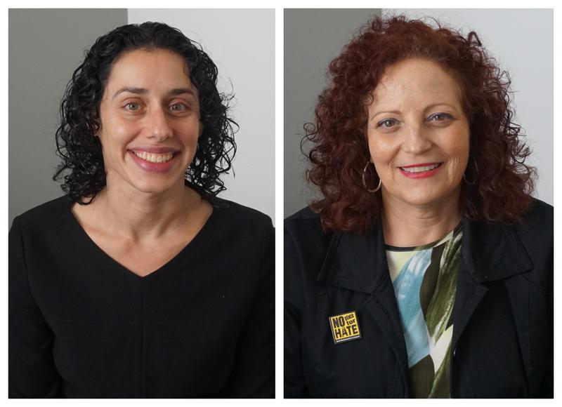Rabbi Amy Feder (left) and Karen Aroesty (right) discussed the local Jewish community's reaction to the tragic event in Pittsburgh at the Tree of Life synagogue.