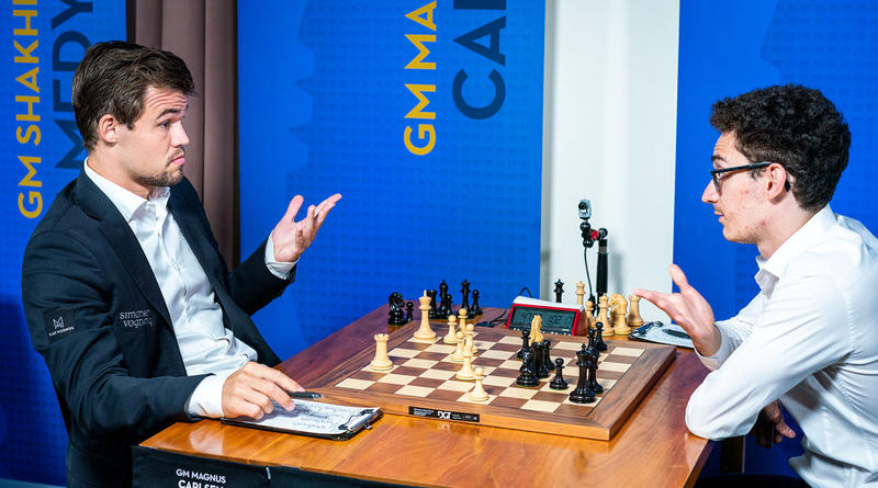 Reigning World Champion Magnus Carlsen (left) recently sparred against Fabiano Caruana in the 2018 Sinquefield Cup. This month, Caruana could take the crown away from Carlsen, becoming the first American-born player to win the title in nearly 50 years.